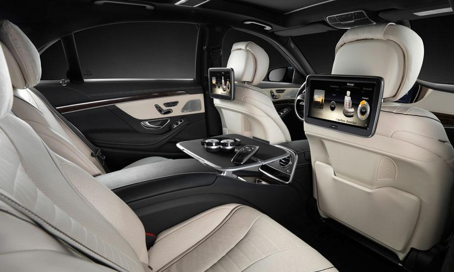 2014 mercedes benz s class interior rear seats screens civilised car hire civilised car hire. Black Bedroom Furniture Sets. Home Design Ideas
